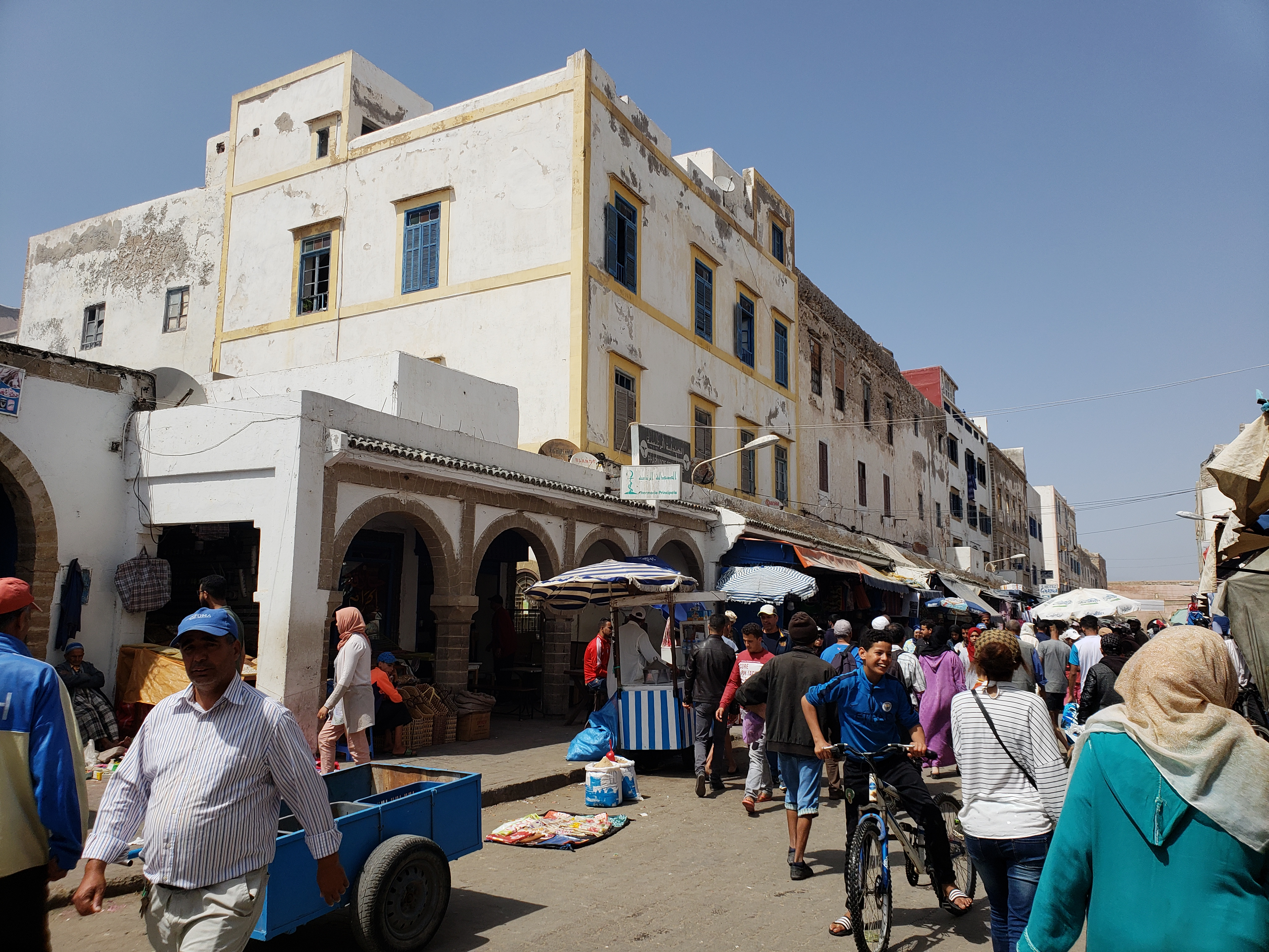 The bustling souk of Essaouira, Morocco.