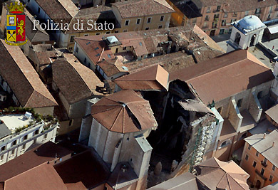 Damaged 13th-century Cathedral of San Massimo, L'Aquila, Italy