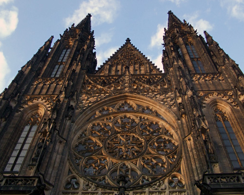 St. Vitus Cathedral, front facade from below, 2012
