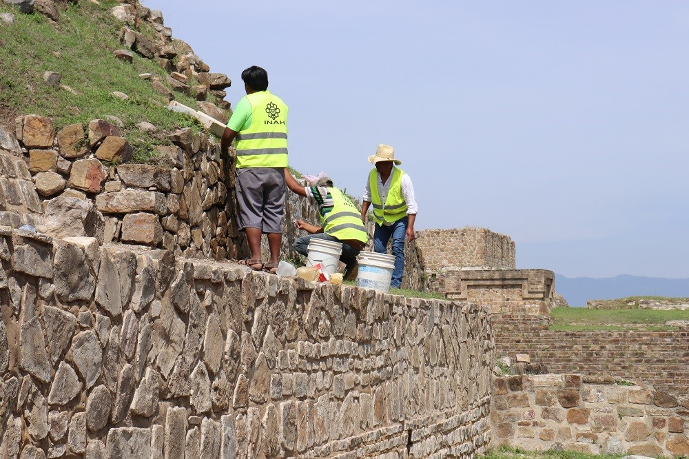 Cleaning and repointing at Monte Albán in Oaxaca, Mexico.