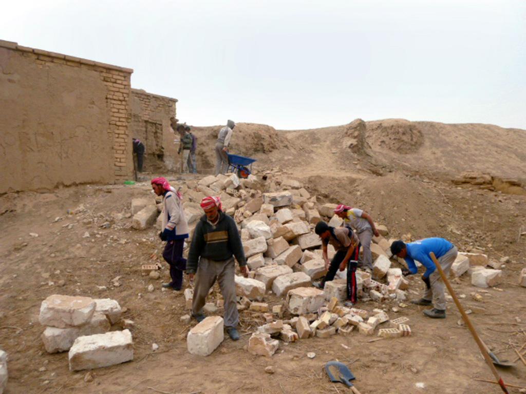 Modern building demolition in process
