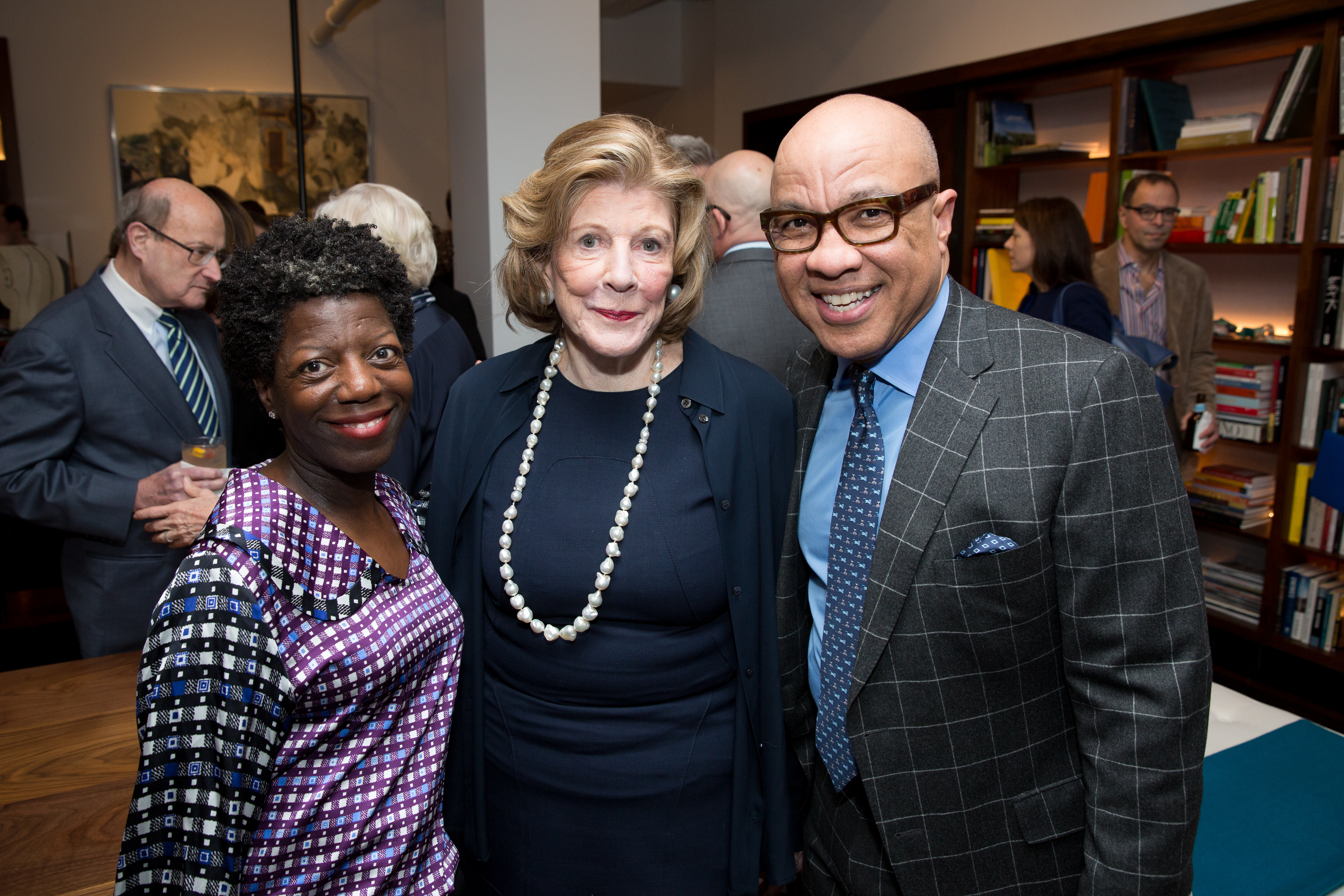 (L to R) Thelma Golden, Agnes Gund, and Darren Walker.