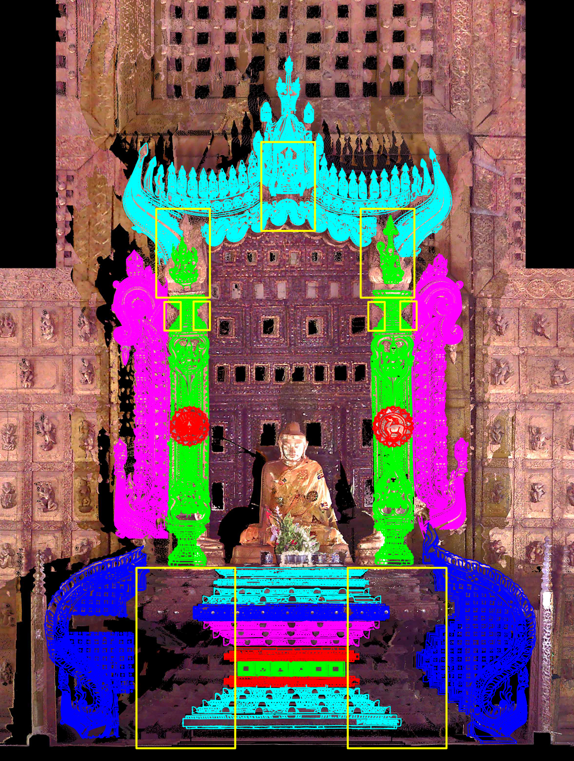 Trace drawing on laser scan of the throne, 2020.