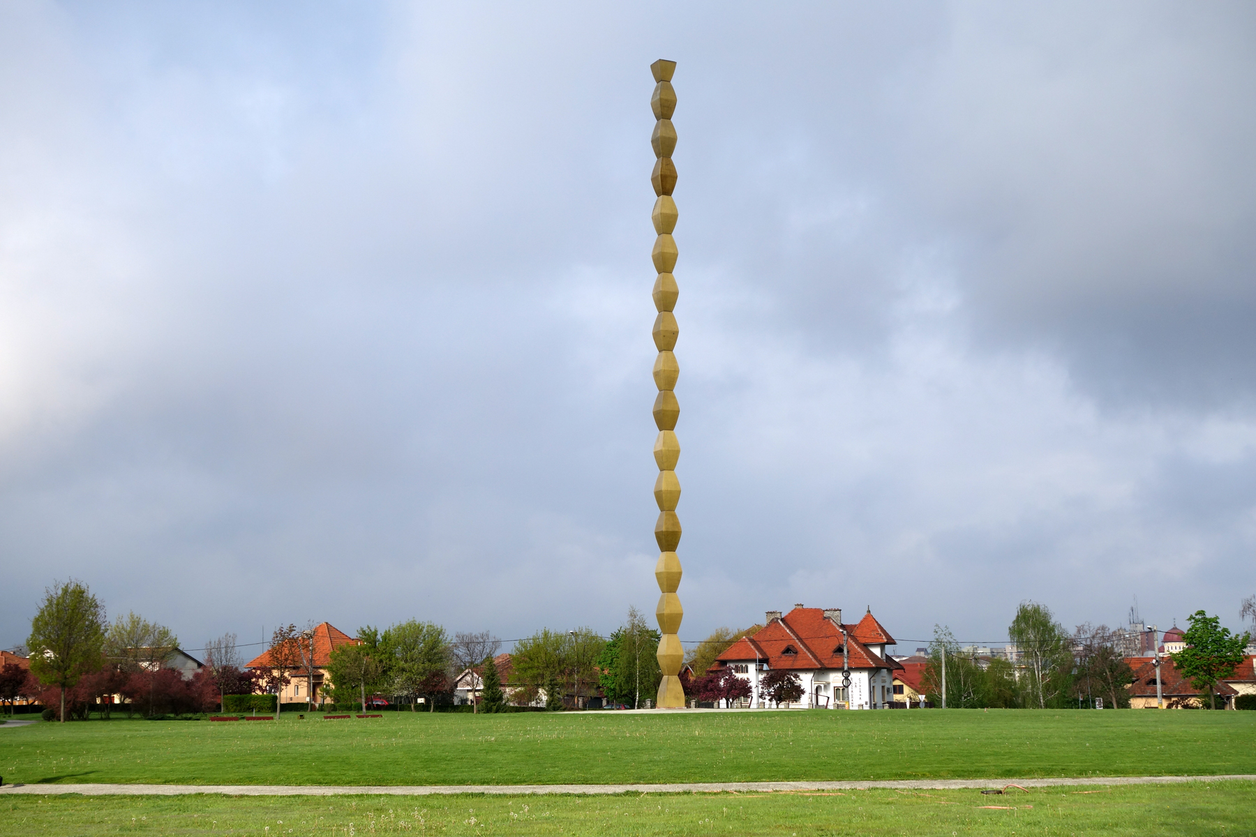 Brancusi's Endless Column ensemble (Romania, 1996 and 1998 Watch): American Express funding contributed to the conservation of the ensemble, bringing back attention to this memorial to those who died defending Targu-Jiu during World War I.