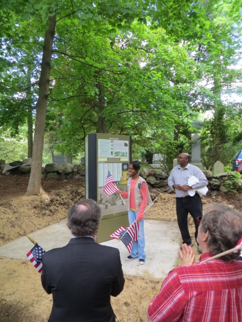 Rye Girl Scout Anna-Kay Smickle from Girl Scout Troop 1838 researched the information that now appears on the three-sided information kiosk at the cemetery as part of her Silver Star Project.