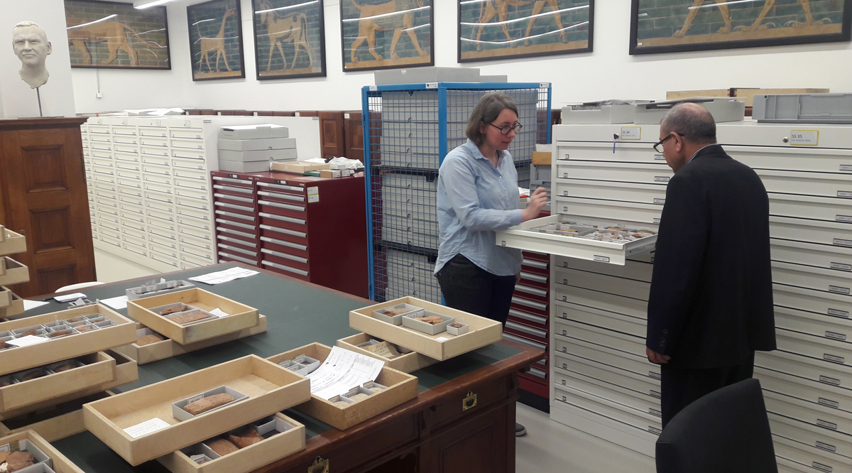 Helen Gries and Hadi Gatea Mosa in the collections room at the Pergamon Museum, 2016