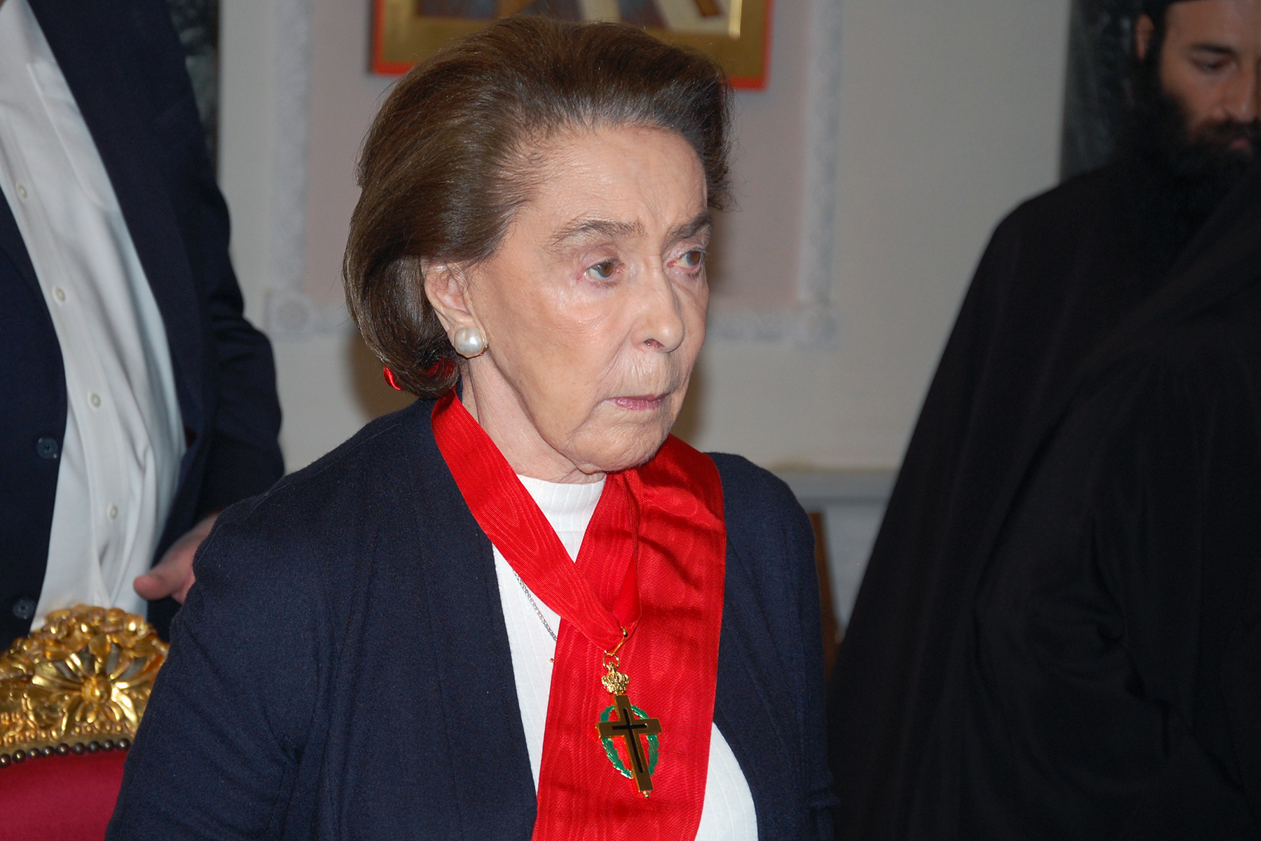 Mrs. Ertegun, decorated as Great Cross-Bearer of the Order of Orthodox Cross-Bearers of the Holy Sepulchre.