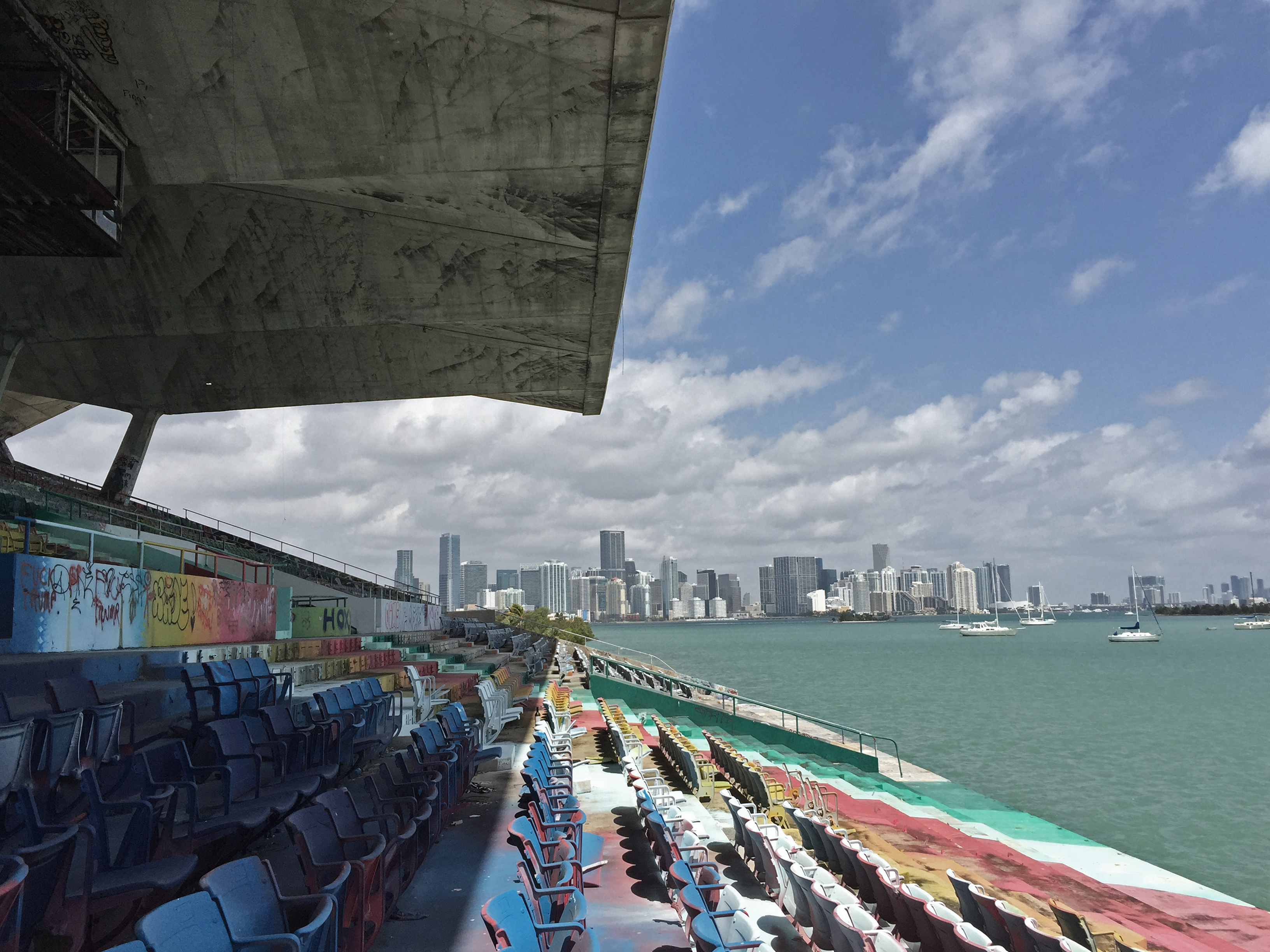 View from the grandstand towards Miami, and the cantilevered roof shown above.