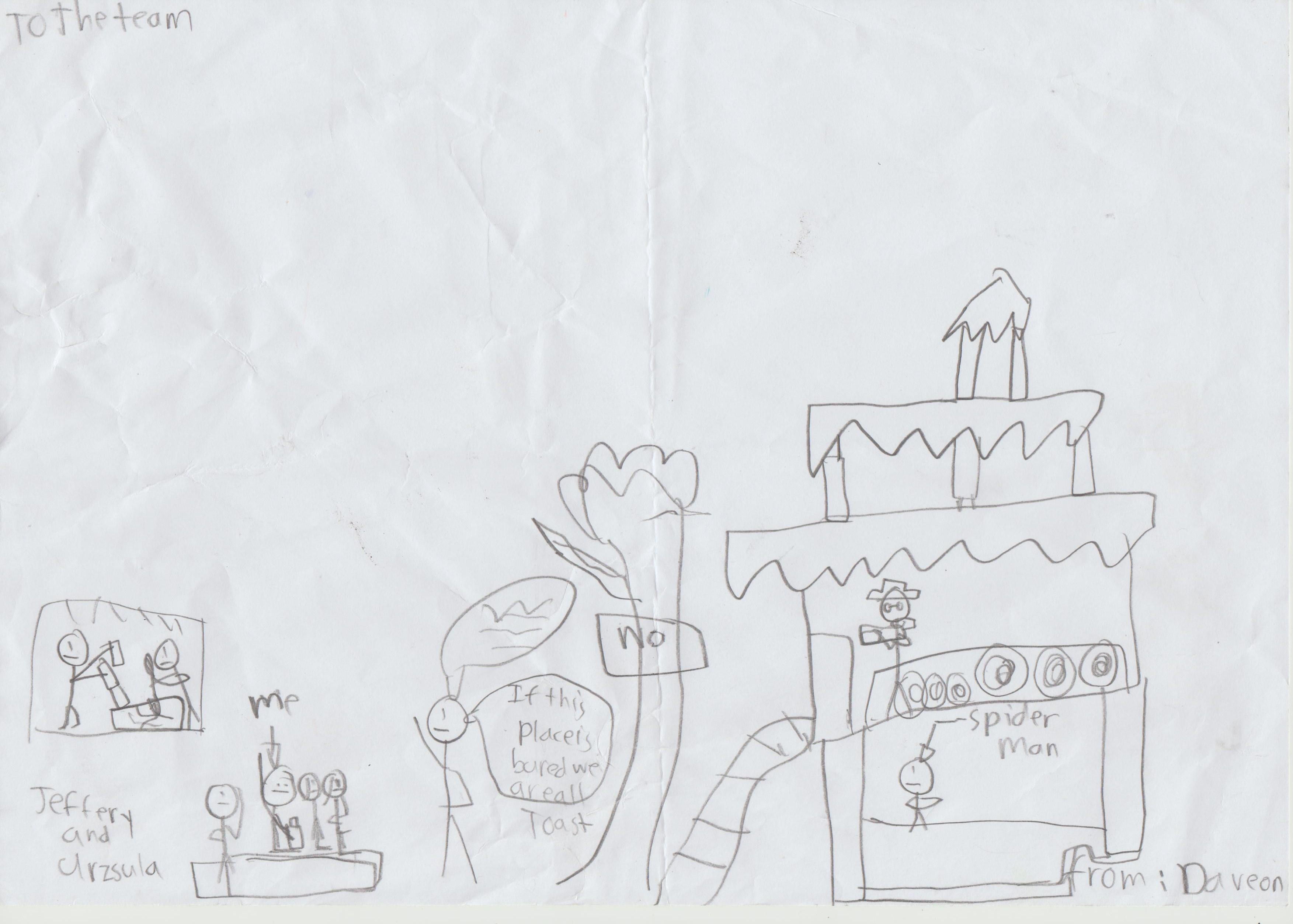 The school children's artwork illustrating their memories of the visit