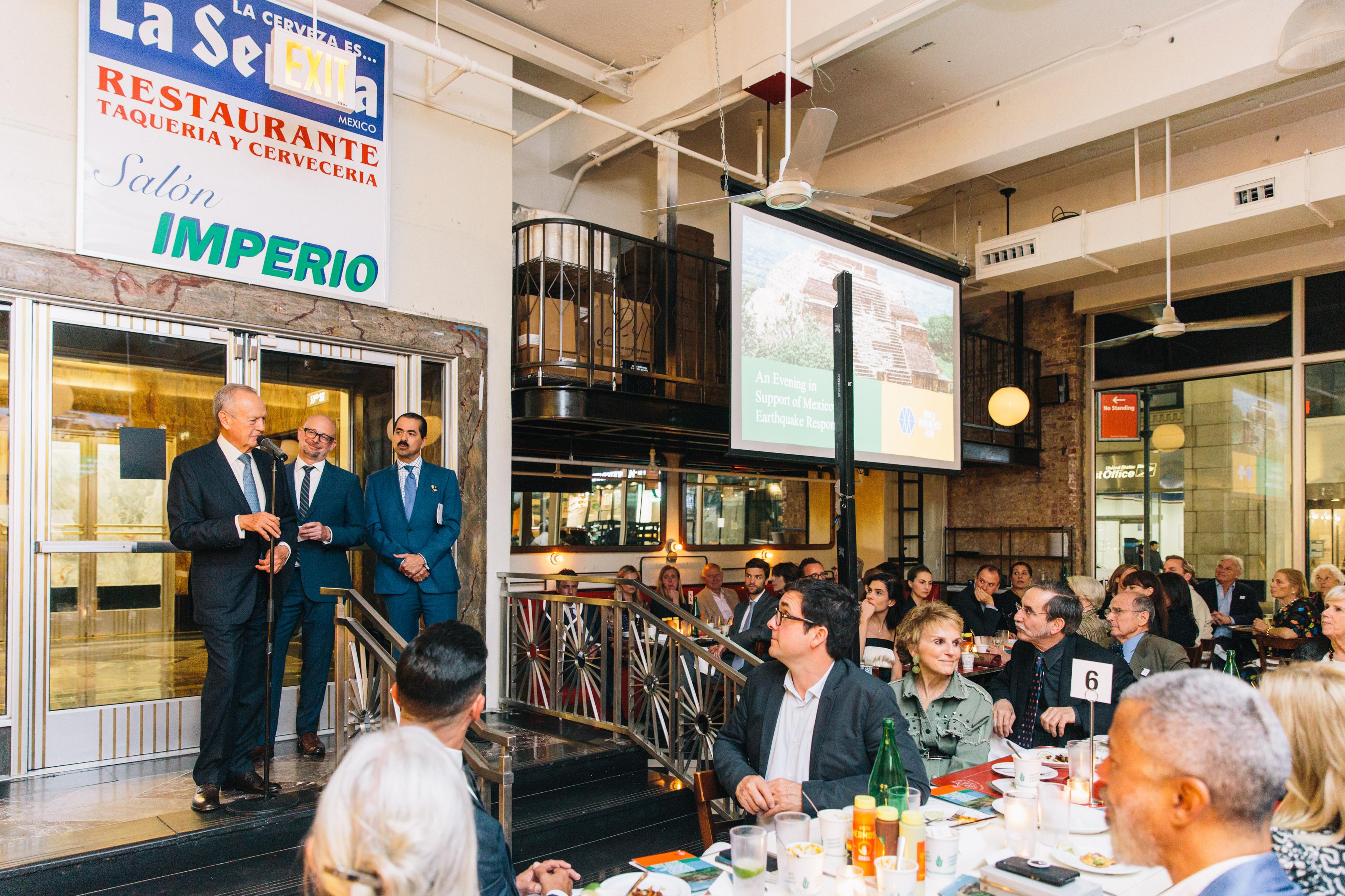 Roberto Hernández Ramírez gives remarks on the importance of restoring Monte Albán.