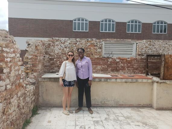 The author with Anne Jonas, Assistant to the Governor General, in the former servants' quarters in the grounds.