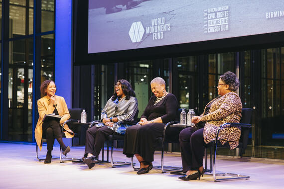 From left: Moderator Carol Jenkins with speakers Rep. A. Terri Sewell, Priscilla Hancock Cooper, and Joyce O'Neal.
