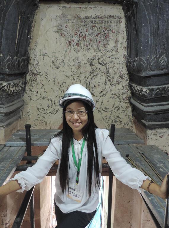 Than Than Aye inside Meru C3 at Wat Chaiwatthanaram, Ayutthaya, Thailand.