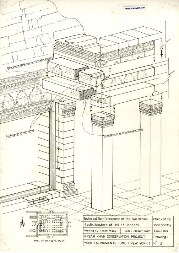 WMF's drawing by our Project Coordinator (then Project Architect) Cheam Phally showing the location where iron clamps where originally inserted in the stone masonry.