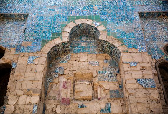 Blue tiles decorate the facade at Takiyyat Ibrahim al-Gulshani, 2019.