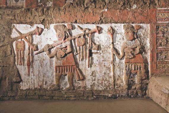 Wall details at Huaca de la Luna, Peru.