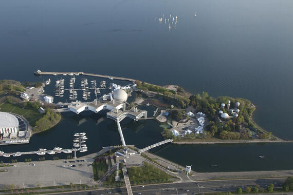 Aerial view of Ontario Place from the North, showing the West Island, 2016.