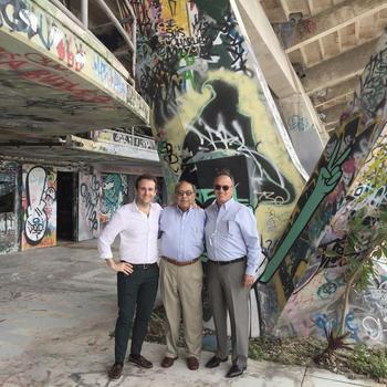 The author with architects Hilario Candela, and Richard Heisenbottle.
