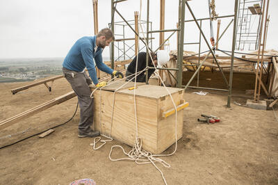 Vincent Juillerat constructing the new interpretation center at Cerro de Oro, 2019