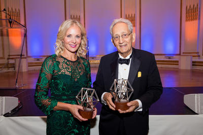 Honorees Deborah Lehr (L, 2017 Hadrian Award) and Frank Stella (2017 Watch Award).
