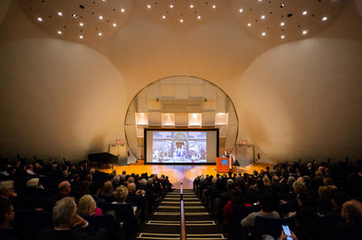 A view of the Paul Mellon Lecture at Rockefeller University.