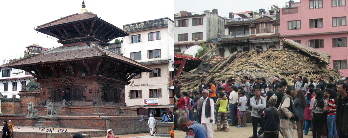 Chan Narayan Temple before (left) and after (right) the April 2015 earthquake.