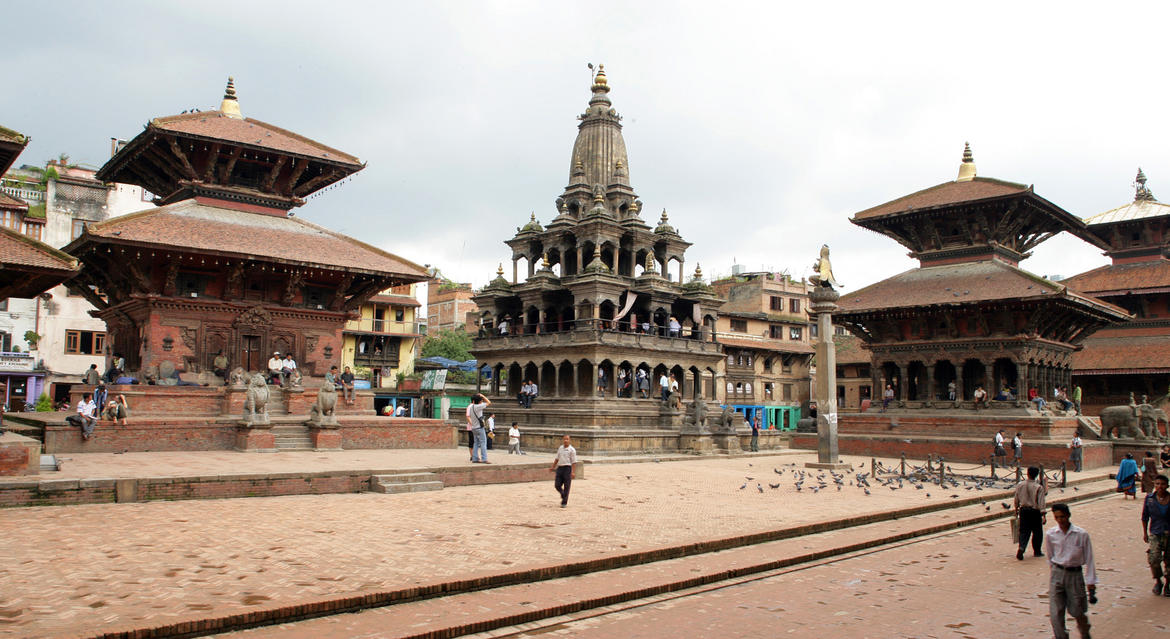 Patan Darbar Square, with Char Narayan Temple to the left. Photo KVPT.