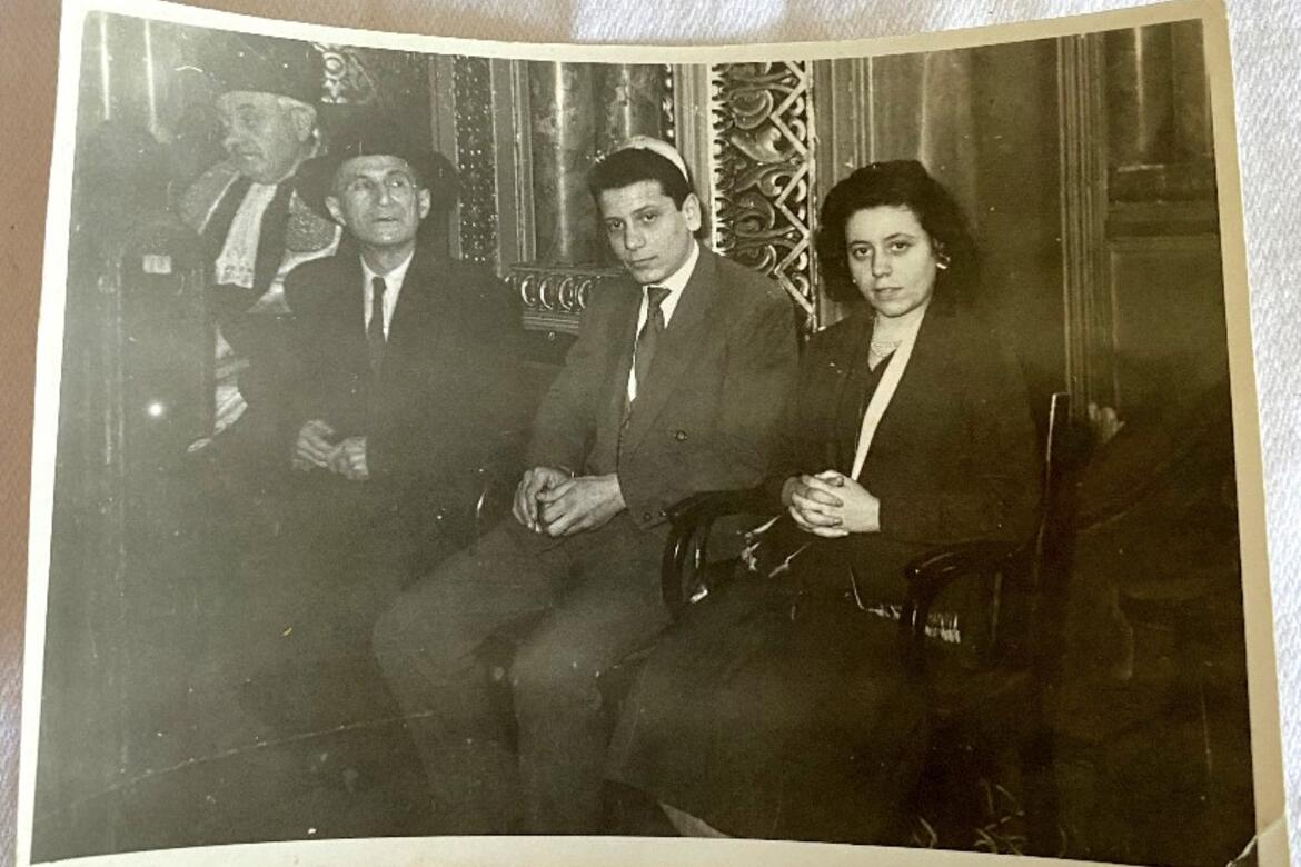 My dad and aunt attending my uncle's bar mitzvah, Choral Synagogue, Bucharest, Romania