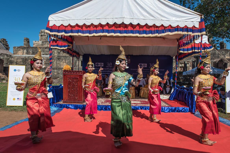 Dancers perform at a celebration event at Phnom Bakheng. Photo by Amine Birdouz.