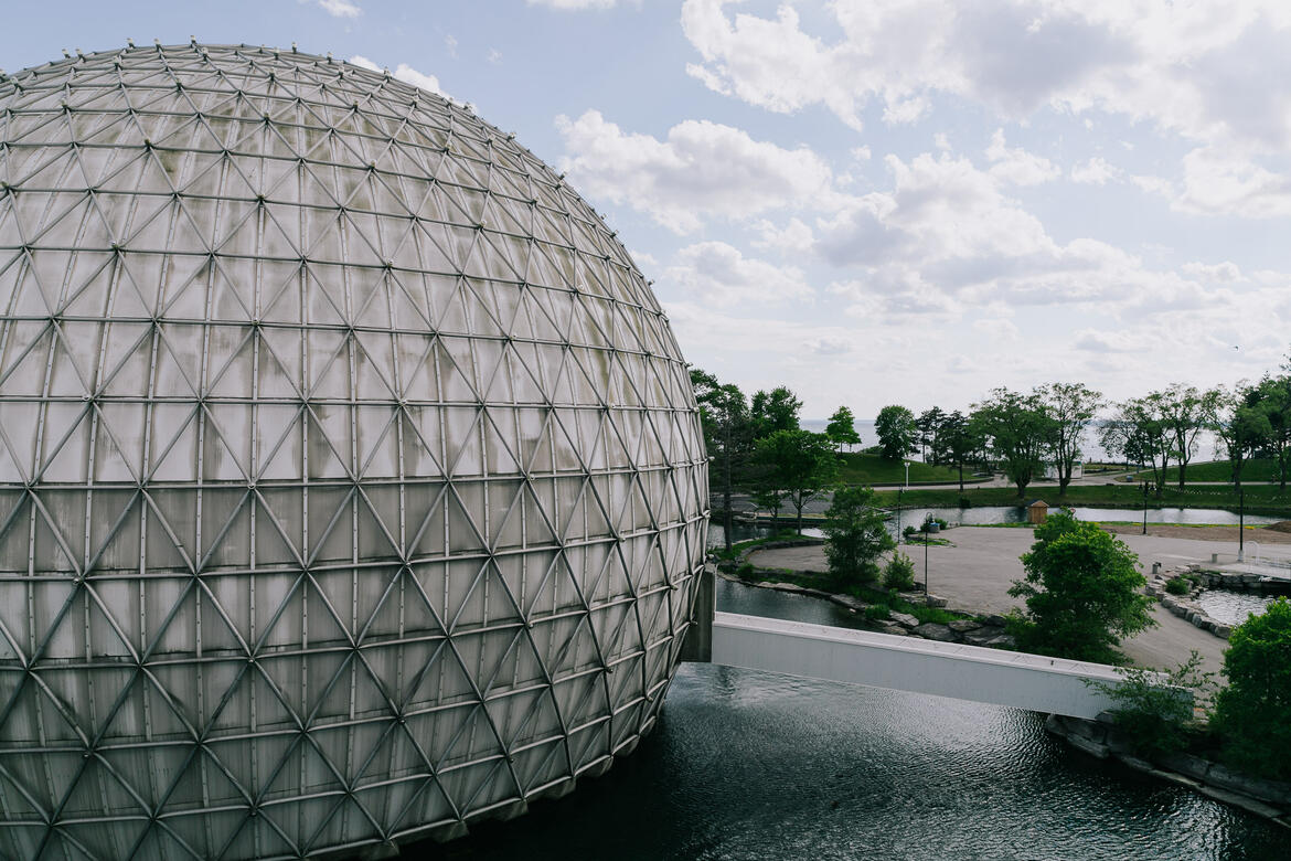 A view of the cinesphere, Ontario Place, Toronto, Canada, 2020.