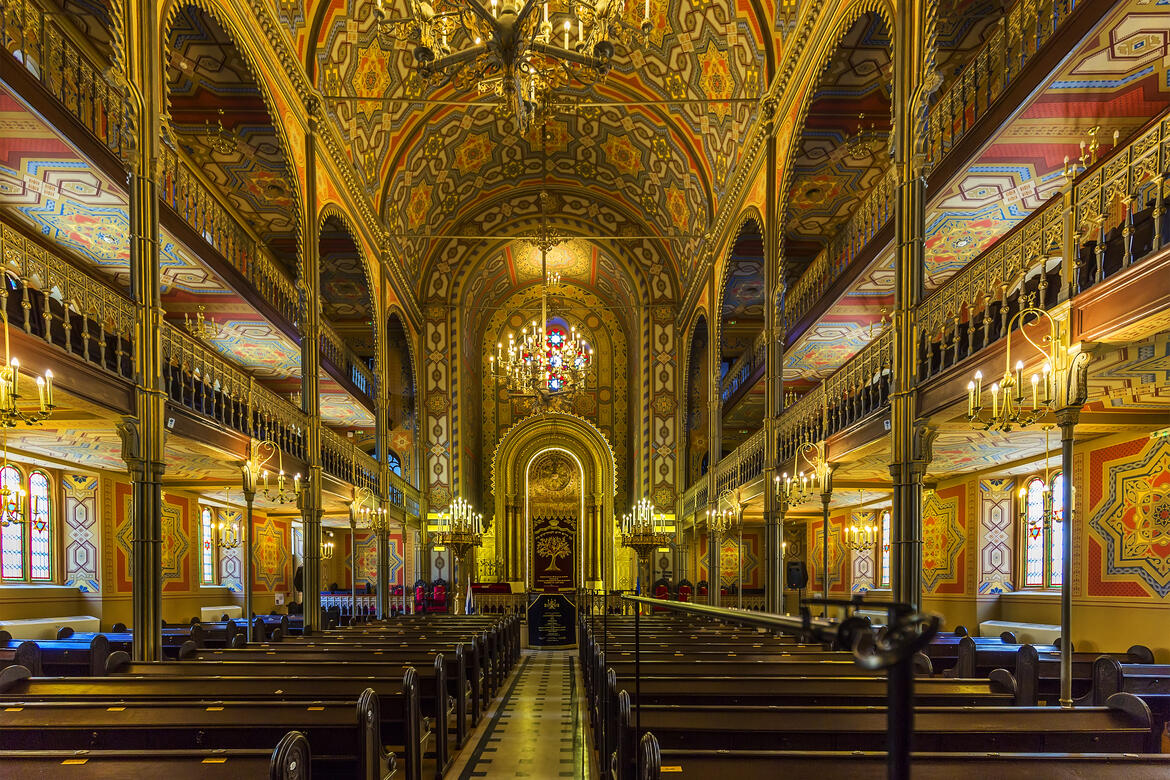 Interior of the Choral Temple synagogue, Bucharest, Romania. It is a copy of Vienna's Leopoldstadt-Tempelgasse Great Synagogue