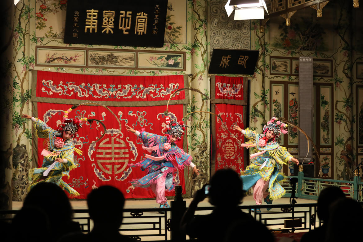 Dancers perform on the historic stage.