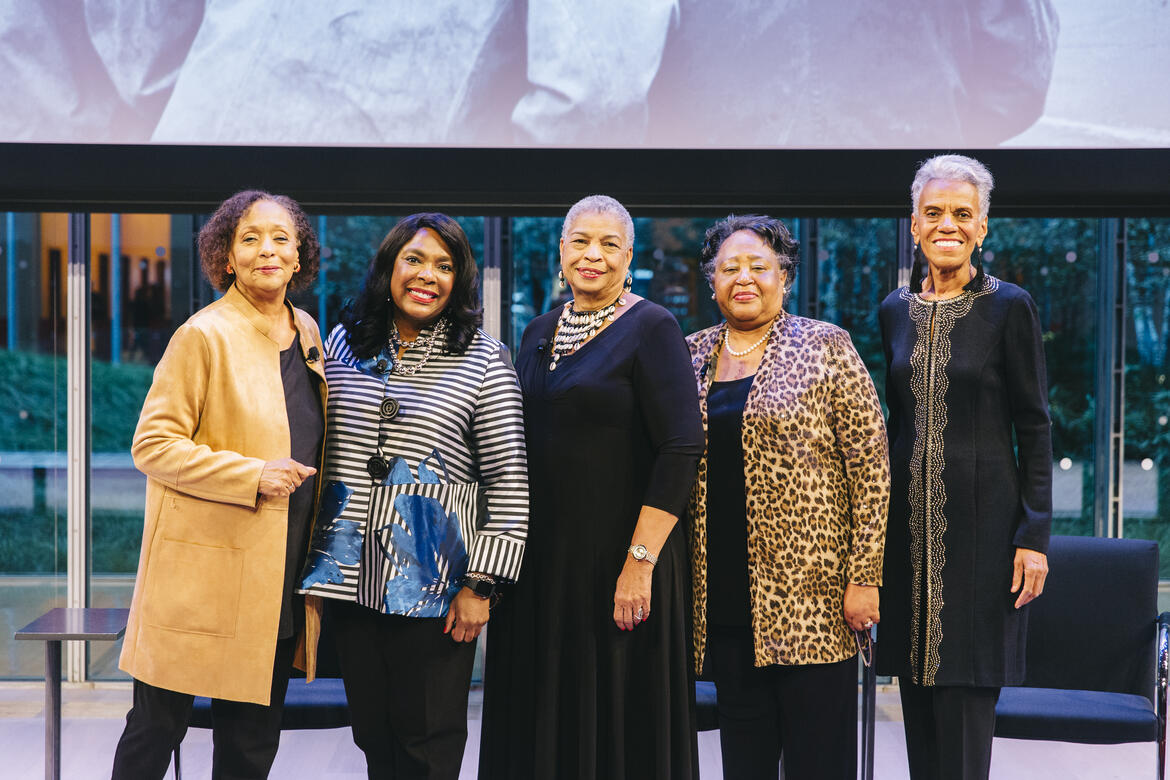 From left: Moderator Carol Jenkins with speakers Rep. Terri A. Sewell, Priscilla Hancock Cooper, Joyce O'Neal, and Andrea Taylor. Image credit: Rowa Lee.