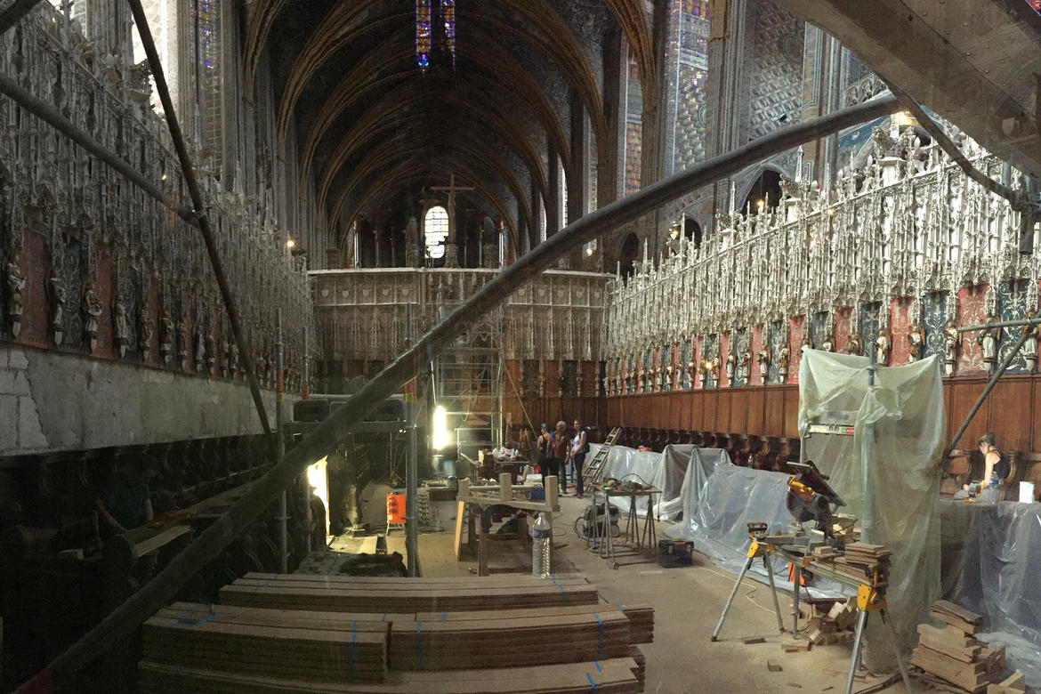 Albi Cathedral choir conservation in progress