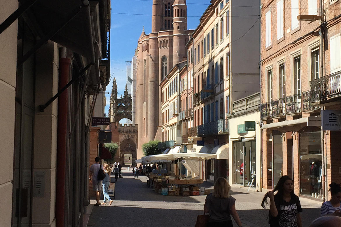 Albi street with cathedral