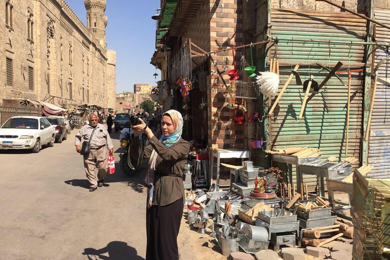 Amira Souliman photographing the surrounding area of Takiyyat Ibrahim al-Gulshani.