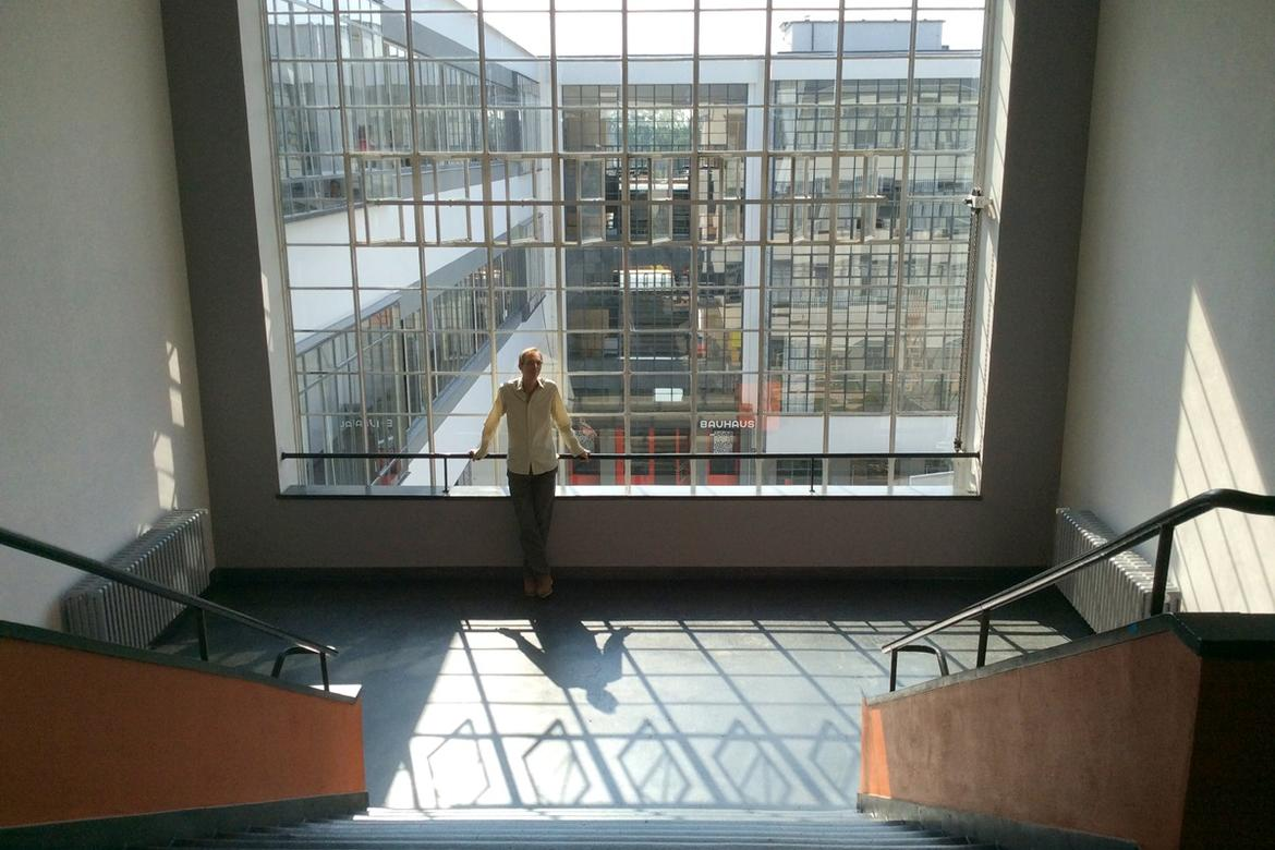 Jeff Allen in the Bauhaus workshop and office wing