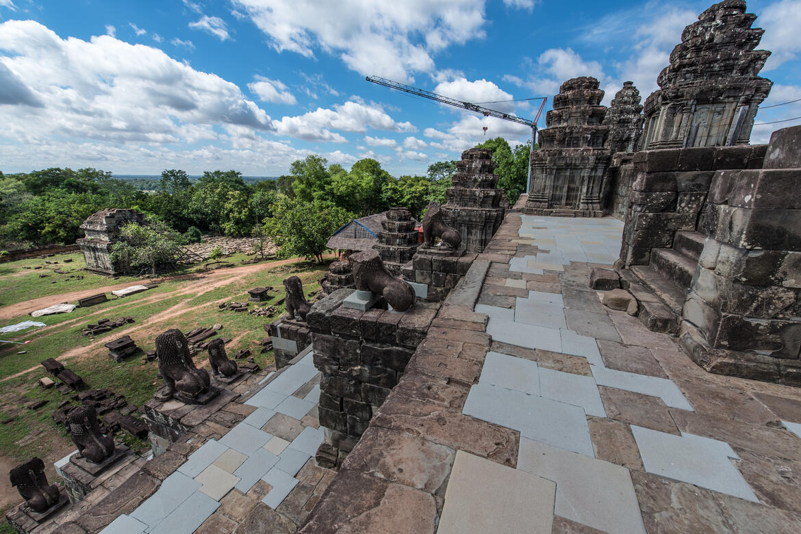 A view of the conserved eastern half of Phnom Bakheng. Photo by Amine Birdouz.