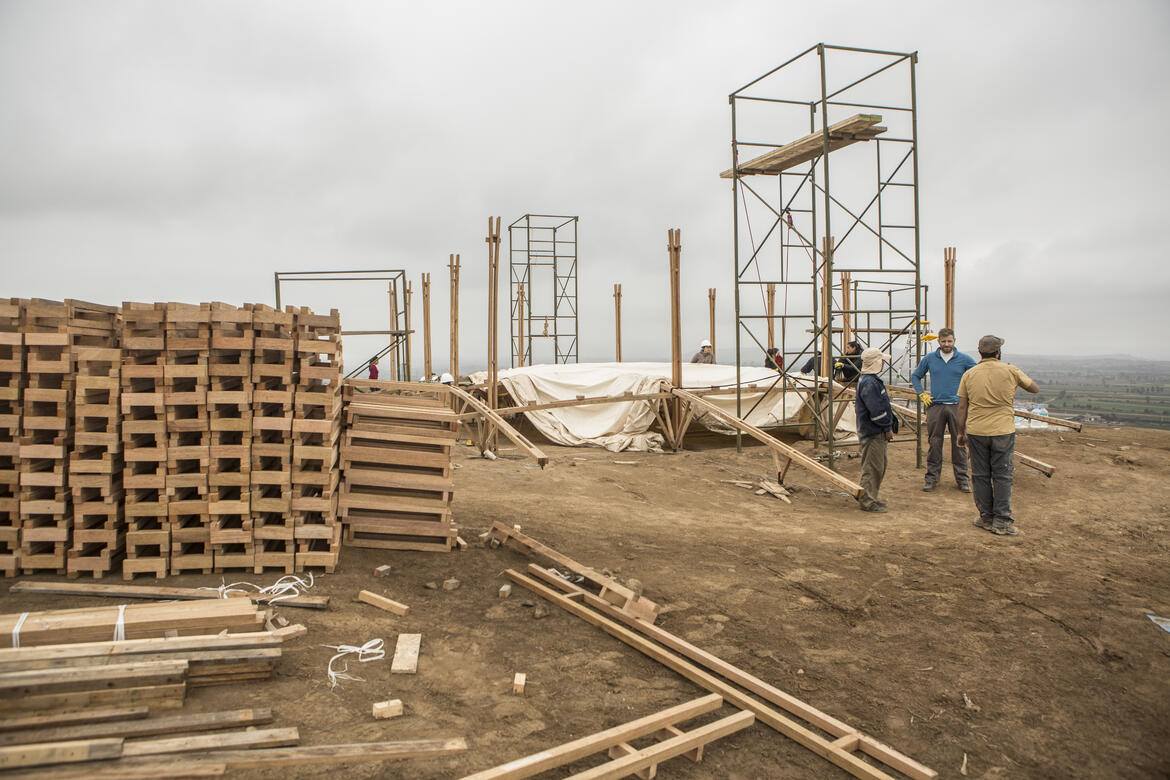 Constructing the structure that would become the interpretation center.