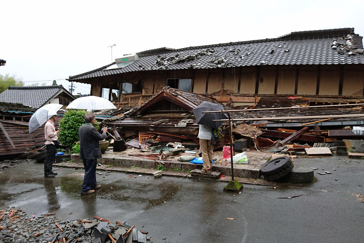 Damaged house in Nishihara Village