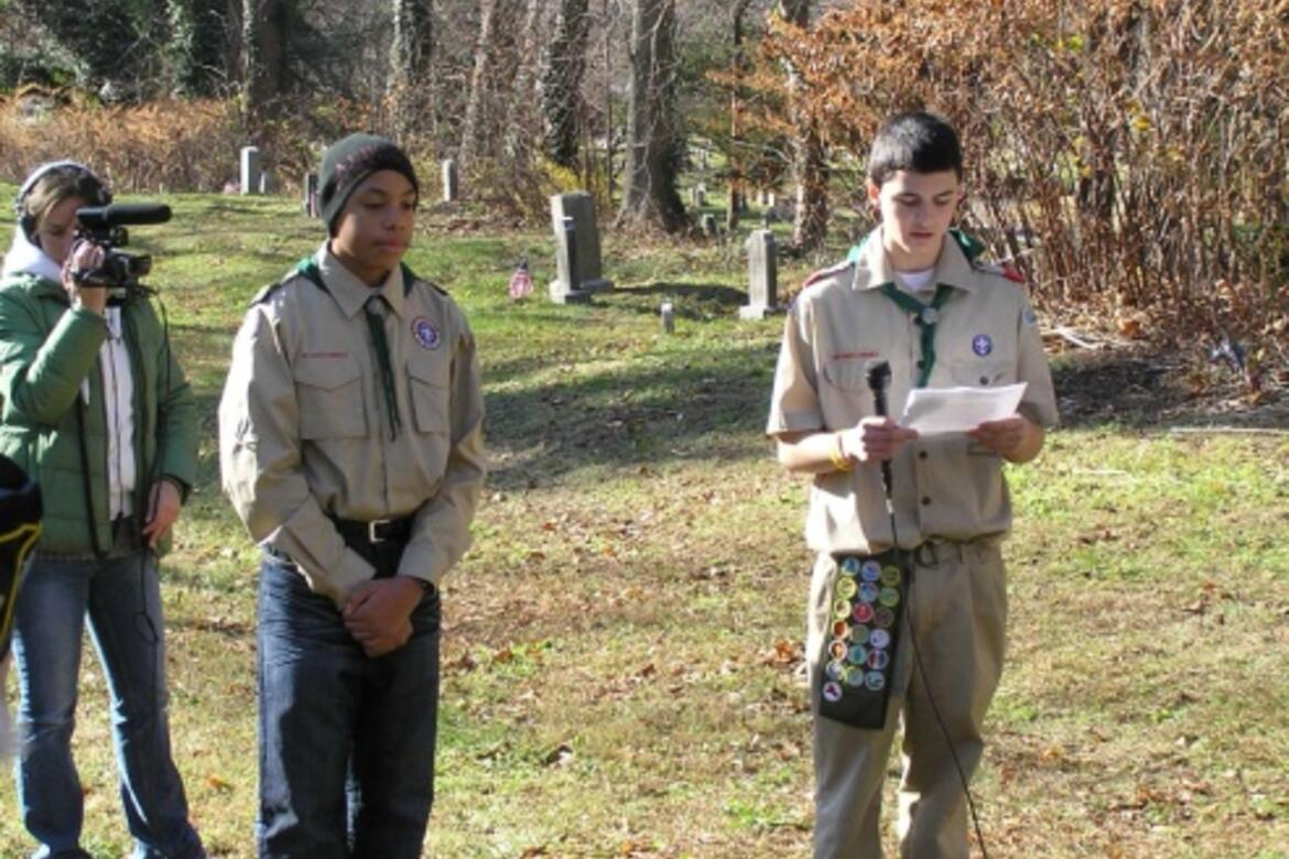 Port Chester Troop 6 Boy Scout Daniel Vitagliano spent months researching public records and recording information on the Rye African American cemetery to create an interactive online map of the site.