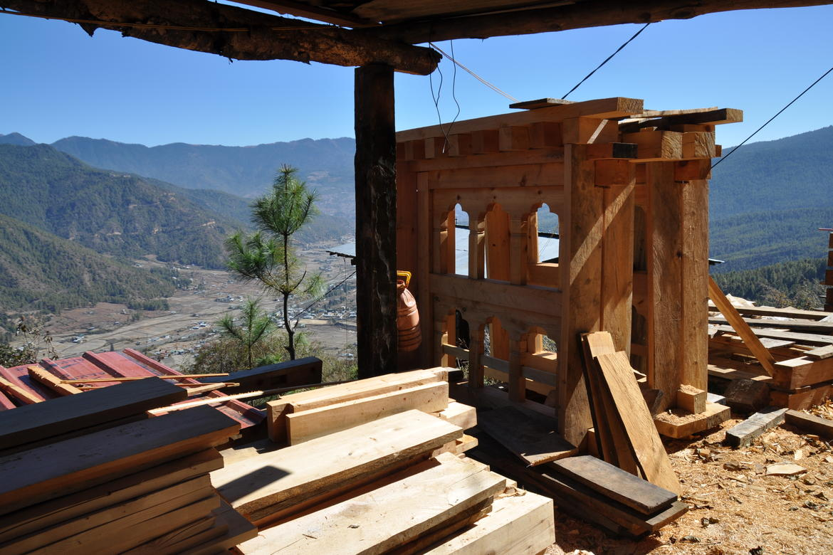 Window components pre-assembled and seasoning, Paro Valley in Bhutan.
