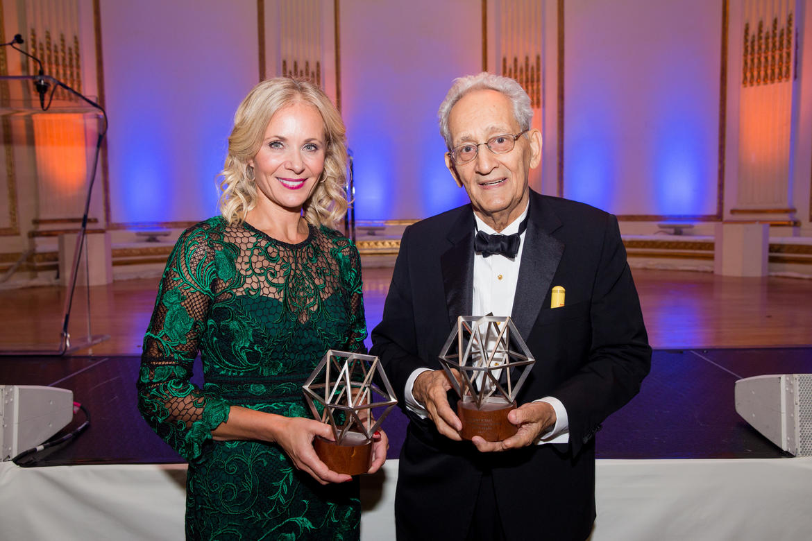 From left: Deborah Lehr (2017 Hadrian Award) and Frank Stella (2017 Watch Award) (photo: Liz Ligon)