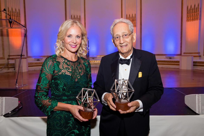 From left: Deborah Lehr (2017 Hadrian Award) and Frank Stella (2017 Watch Award) (photo: Liz Ligon)