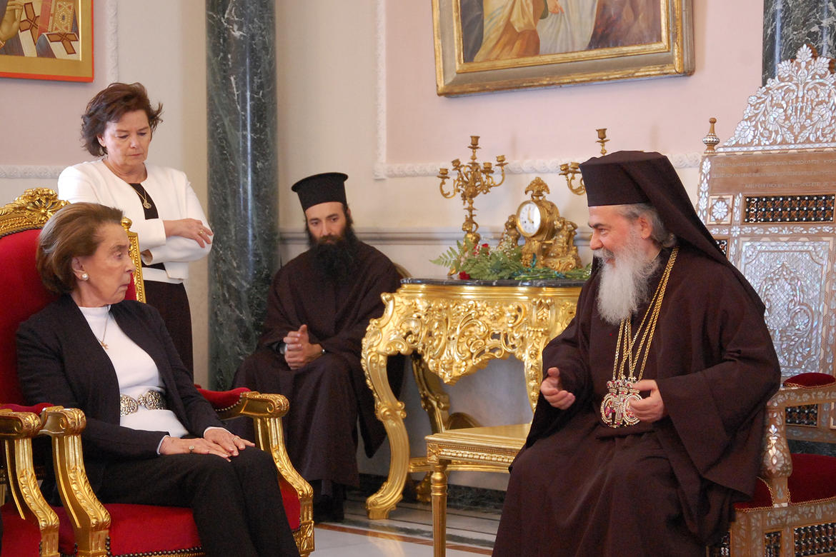 His Beatitude, Theophilos III, converses with Mrs. Ertegun and Professor Antonia Moropoulou, who supervised conservation of the Edicule.