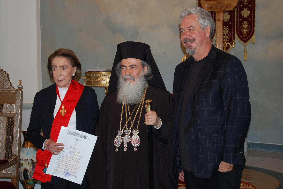Mrs. Ertegun, His Beatitude, Theophilos III, and WMF trustee Jack Shear, who also made a contribution to the project inspired by Ms. Ertegun's donation.