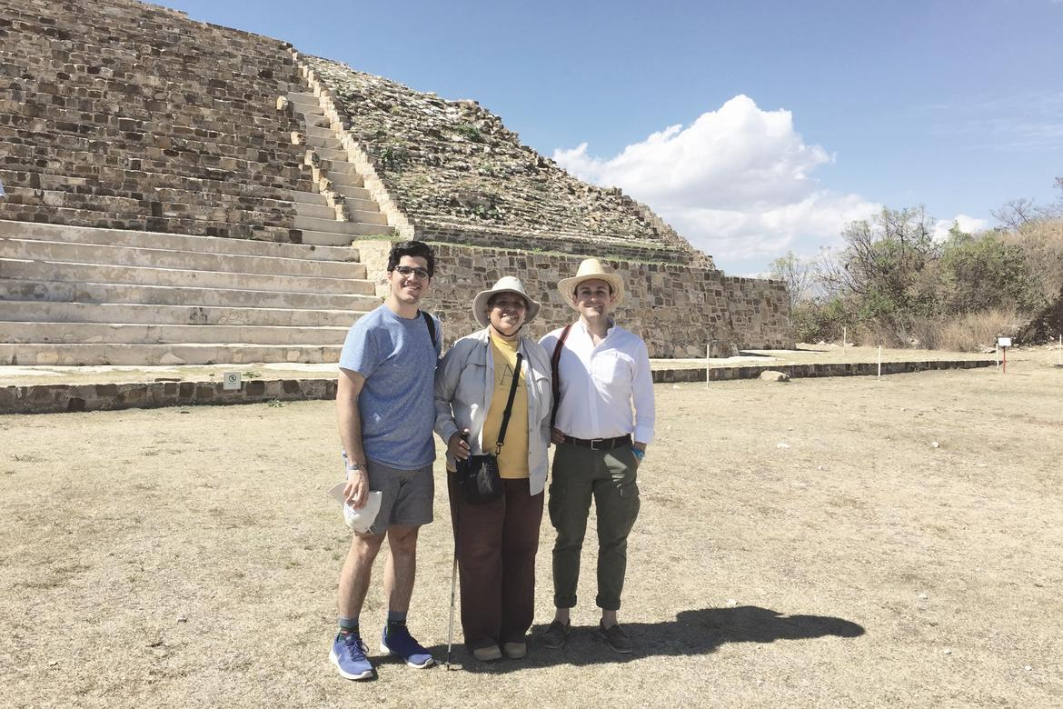From right to left: Javier Ors Ausín (WMF), Dr. Nelly Robles (Director of Archaeology at Monte Albán), and Kevin Gurley stand in front of one of the pyramids at Atzompa.