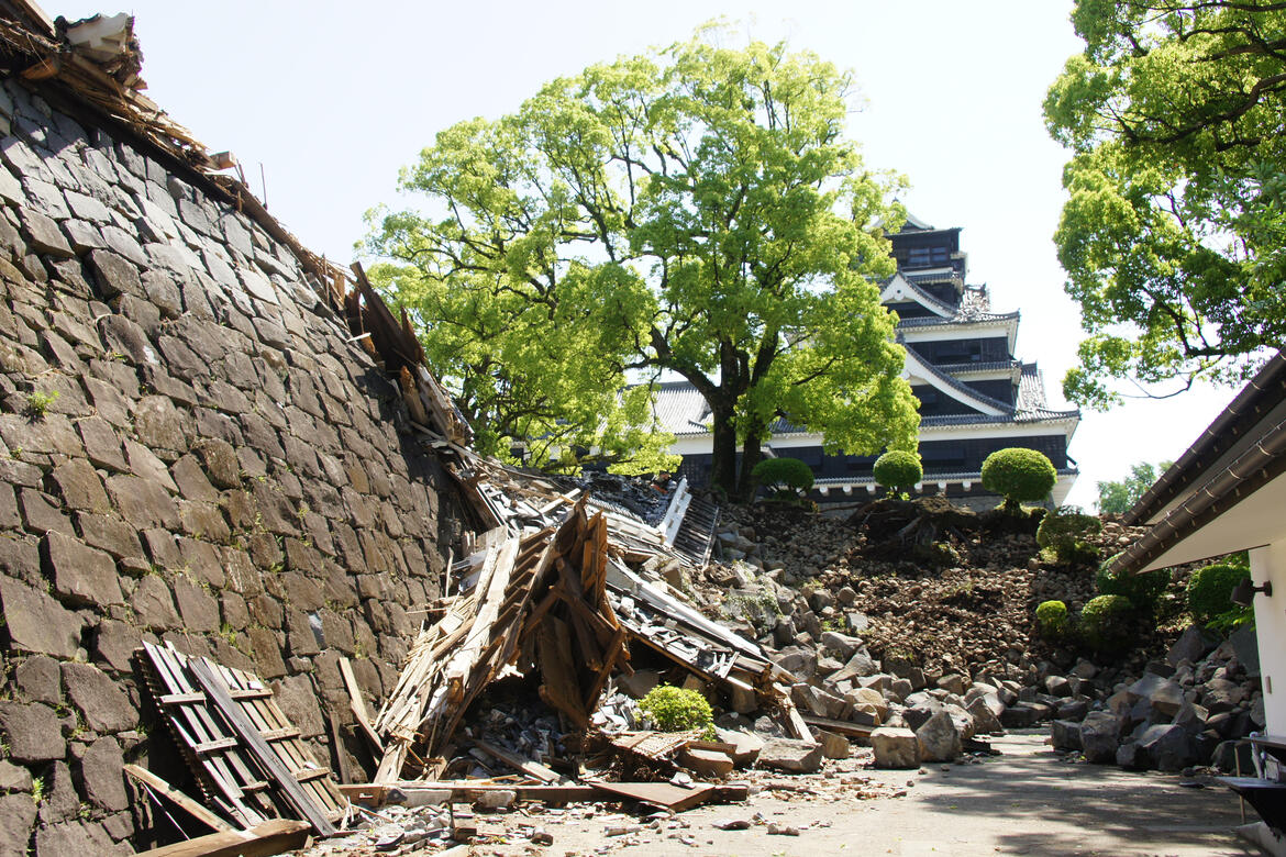 Kumamoto Castle after the earthquake. Photo taken during the WMF-ICOMOS Japan on-site survey, 2016.