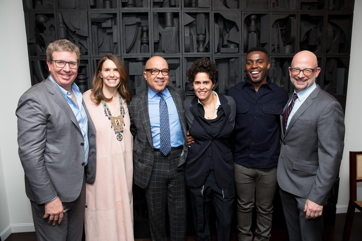 (L to R) Hosts Marc Glimcher and Fairfax Dorn, Darren Walker, Julie Mehretu, Adam Pendleton, and WMF President & CEO Joshua David.