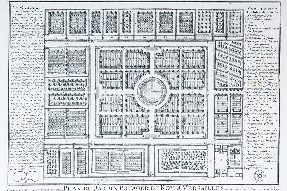 A historic plan of the seventeenth-century garden.